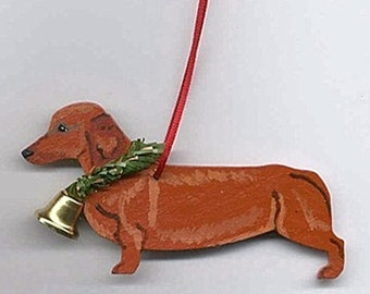 Hand-Painted DACHSHUND RED Wood Christmas Ornament...Artist Original, Christmas Tree Ornament Decoration