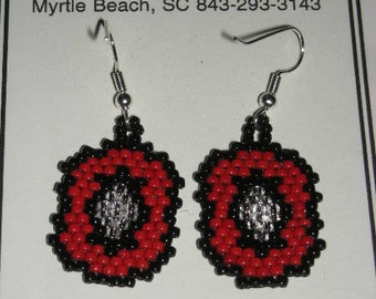 Red Black Silver Seed Bead Earrings