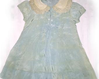 Victorian Vintage silk toddler dress lace collar