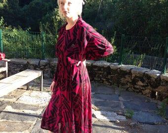 80's drape cerise/black vintage dress