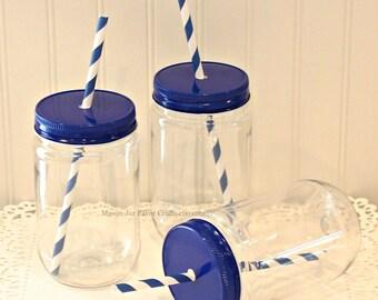 Plastic Mason Jar, 8 Plastic Mason Jars with Metal Jar Straw Hole Lid & FREE PAPER STRAWS, Wedding Favor, Party, Baby Showers, Sorority Rush
