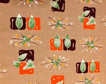 Mod Mid Century Stylized Leaf Design Barkcloth Fabric//50s Eames era Chic//Cotton Yardage//Upholstery// Home Decor// New Old Stock// 47x105