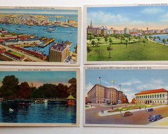 Boston postcards, Swan boats, Public Garden, Copley Plaza, Copley Square, Boston waterfront,  vintage postcards, Boston,  Charles River