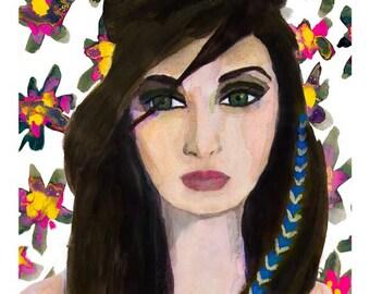 Floral Gaze Fine Art Giclee Print from Original Watercolor Fashion Illustration Female Portrait Artwork