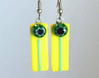 Earrings Dangling Bright Yellow Green and Blue Glass