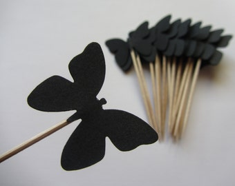 Butterfly Cupcake Toppers, Wedding cupcake toppers, Party Picks, Food Picks, Sandwich Picks, Toothpicks, Gothic wedding