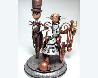 Sculpture en bois fauteuil roulant Wedding Cake Topper Steampunk Robot mariée et le marié
