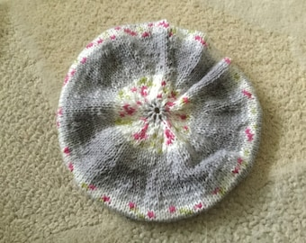 Hand knitted baby girl beret