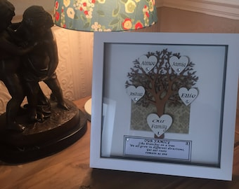 "Family tree box frame 8"" x 8"""