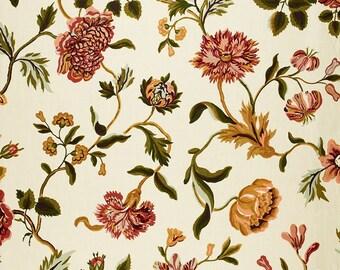 Schumacher Avebury Floral Vine in Aubusson / Pink, Rose, Green, Citron, Green, Light Blue Floral Decorative Pillow Cover