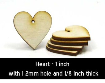 Unfinished Wood Heart - 1 inch by 1 inch and 1/8 inch thick with 1 2mm hole wooden shape (HART66)