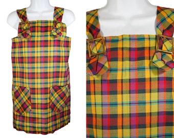 Vintage 60's Girl's Plaid Pattern Dress