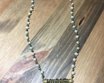 Brass and pearl choker-style dangle necklace