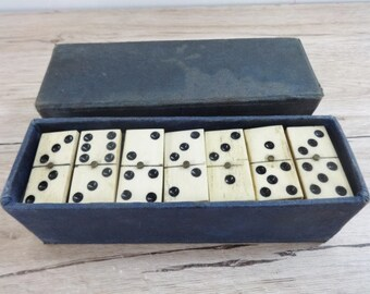 Old Vintage Boxed Set of Bone & Ebony Dominoes