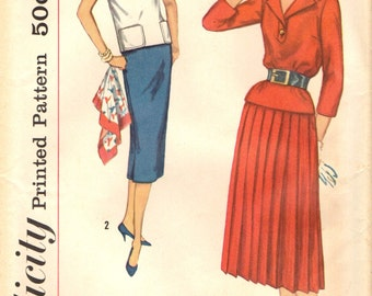 Simplicity 2388  Two Pieces Top Slim or Pleated Skirt Bust 34 VINTAGE 1950s ©1958