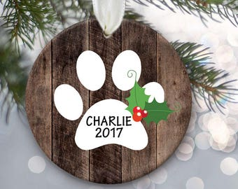 Family Pet Ornament Rustic fake wood Dog Ornament Cat Ornament Personalized Christmas Ornament Paw print ornament Lil Stinker Design OR430