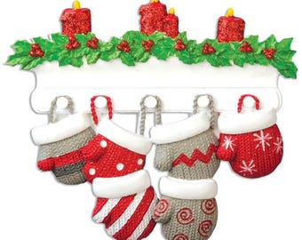 Mitten family of 6 Personalized Christmas Ornament