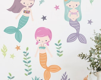 Three Mermaids Removable Wall Sticker