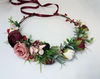 Dusty rose Blush Burgundy flower crown,Floral headband,Bridal hair wreath,Wedding flower halo,Flower girl crown,Peonies crown