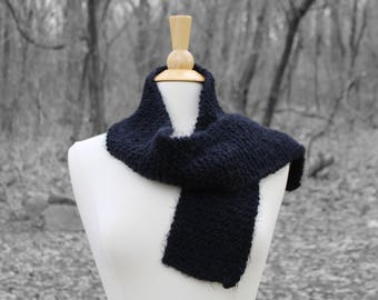 Black scarf for men, warm winter scarf, neckwarmer for him, traditional scarf, warm wool scarf, fuzzy knit scarf, mothers day gift