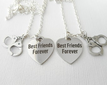 2 Handcuff (Partner in Crime), Best Friends Forever Necklaces/ Best friend gift, bff gift, Friendship Necklace, Sister Gift, Sisters