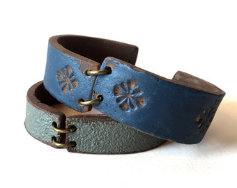 Denim Cuff Bracelet, Santa Fe Style Patterned Cuff, This is not Leather, Cold Porcelain, Blue Bracelet, Boho style, Jeans Casual Fashion