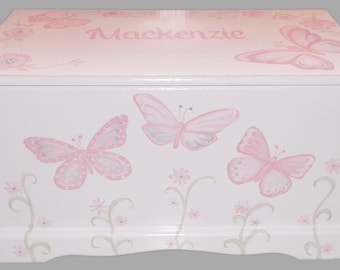 Custom Designed Butterfly Toy Chest with Monogram or Name, kids furniture, art and decor, wooden toy box