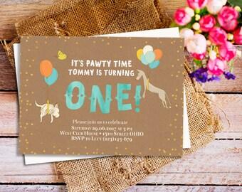 puppy first birthday invitation, dog first birthday invitation, puppy birthday party invitation, puppy invitation, doggie birthday invite