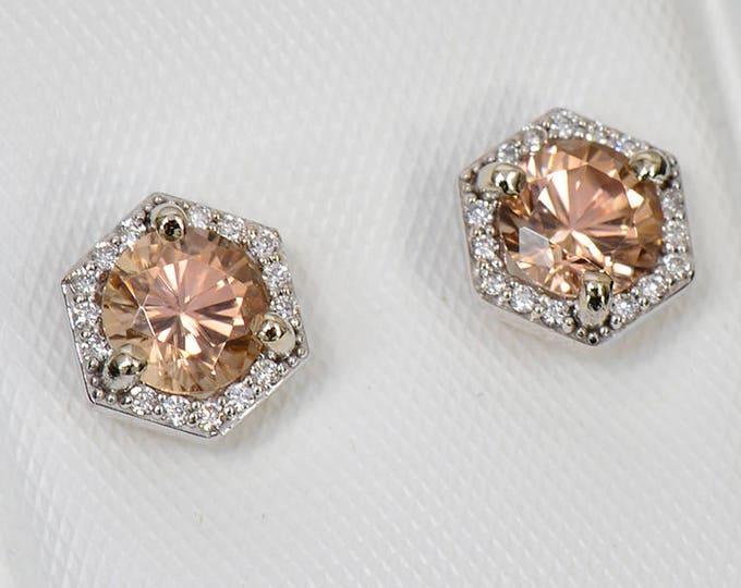 Fantastic Peach Zircon and Diamond Earrings in 14kt White Gold 1.64 tcw.