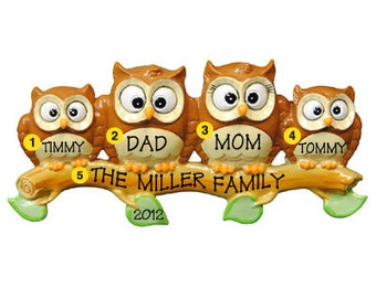 Personalized Christmas Ornament Owl Family of Four-  -Free Personalization