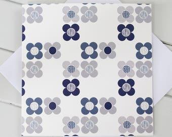 Simple Scandi Mod Flowers  Blank Card Blue and Grey print