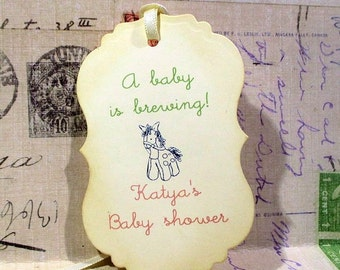 Baby Shower Tags -  Favors - A baby is brewing - Personalized