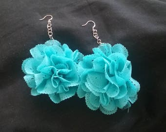 Turquoise Blue Ribbon Flower Earrings, Floral Jewelry, Blue Flowers, Flower Earrings, Ribbon Flower Earrings, Ribbon Flower Jewelry
