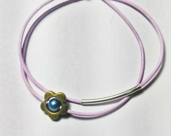 Girls leather bracelet / double wrap leather bracelet / flower bracelet / gift for daughter, niece, best friend / daisy bracelet leather