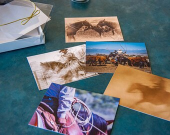 Flat note cards, Western lifestyles, cowboys, horses, ranch life, Western art,