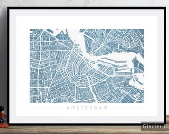 Amsterdam Map - City Street Map of Amsterdam Holland - Art Print Watercolor Illustration Wall Art Home Decor Gift - Colour Series PRINT