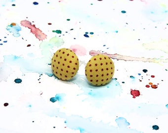 Mustard yellow stud earrings - Yellow dotted button earrings - Polka dot fabric stud earrings - Mustard yellow studs - Yellow dot earrings