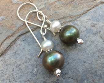 Green Pearl Earrings, Green and White Pearl Earrings, 1.5 inches long