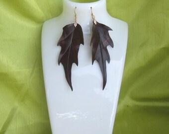 Autumn Earrings, autumn leaves Earrings, leather leaves Earrings, leather Autumn leaves Earrings