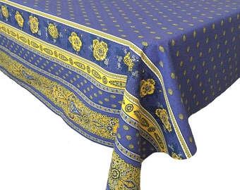 Blue Floral Tablecloth, French Country Tablecloth, Rectangular Tablecloth, Bastide