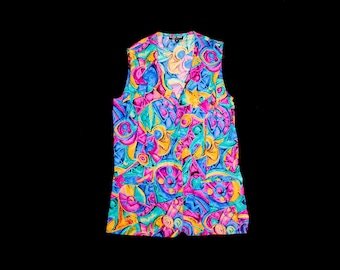 Vintage Abstract Sleeveless Blouse