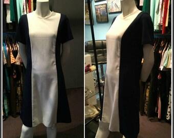 Vintage 1960s Antigo Blue and White Midi Dress