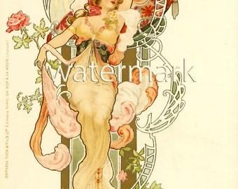 Art Nouveau Woman Girl Yellow Red Rose Victorian Post Card As is Ephemera Vintage Scrapbook Instant Digital Download Printable