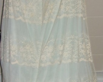 Vintage Light Blue & Cream Lace Tiered Nightgown