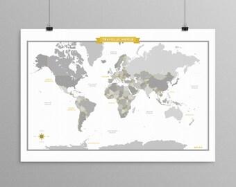 World Map - Gray - a Scandinavian modern design print // 13x19 // mid century modern map // kids room wall art // kids room decor