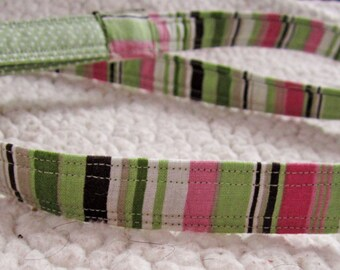 Pink and Green Striped Dog Leash