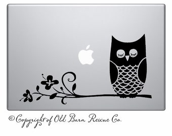 Owl on branch -laptop notebook computer decal vinyl graphic sticker art SignTransfer