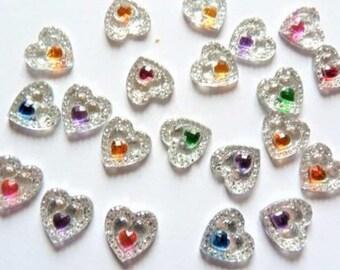 Set of 20 hearts embellishments