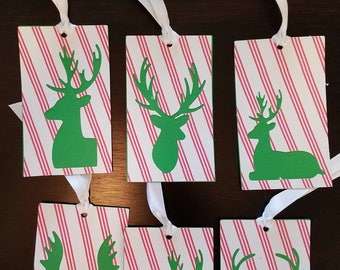 Reindeer Holiday Rectangle Gift Tags Set of 6 Set #02