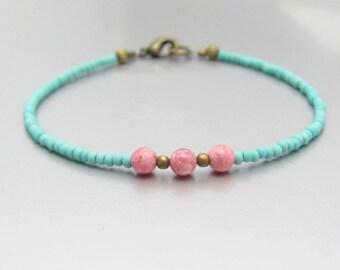 Turquoise Friendship Bracelet, Turquoise Bracelet, Stone Bracelet, Seed Bead Bracelet, Friendship Bracelet, Minimal Bracelet, Beaded Jewelry